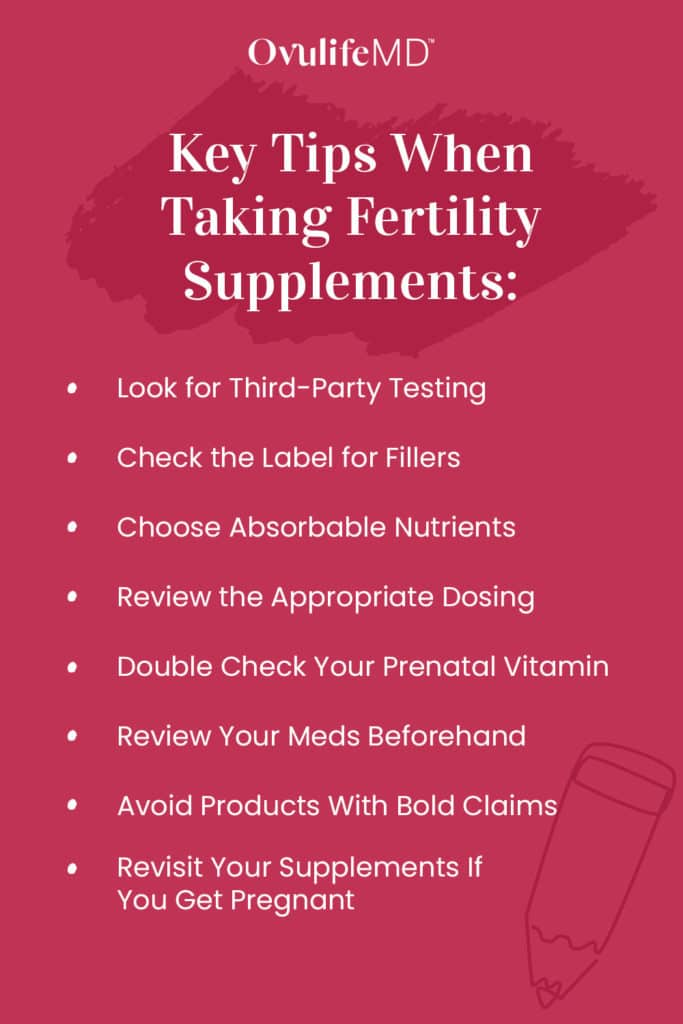Infographic with tips for choosing fertility supplements
